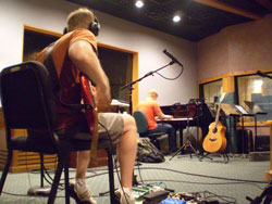 Scott recording guitar and Mark playin piano